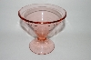 "MBA #64-472   Vintage Pink Depression Glass ""Etched"" Footed Compote"