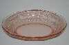 """SOLD""  MBA #63-060  Vintage Pink Depression Glass ""Ribbons & Bows"" Etched Serving Bowl"