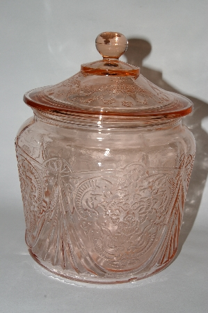 "MBA #63-236   Vintage Pink Depression Glass ""Royal Lace"" Cookie Jar With Lid"
