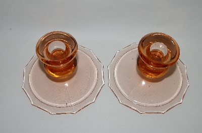 **MBA #63-245  Vintage Pink Depression Glass Pair Of Candle Stick Holders
