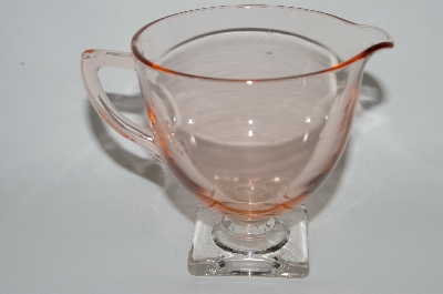 **Vintage Pink Depression Glass Clear Footed Creamer