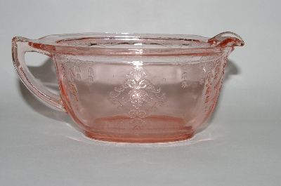 **Vintage Pink Depression Glass Fancy Etched Creamer
