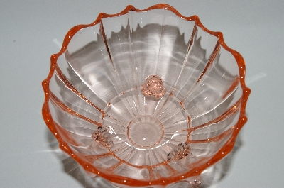 ** Vintage Pink Depression Glass Fancy 3 Footed Candy Dish
