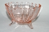 +MBA #63-065 Vintage Pink Depression Glass Fancy 3 Footed Candy Dish