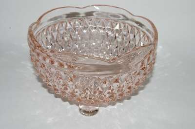 ** Vintage Pink Depression Glass Fancy 3 Footed Bowl
