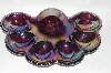 "+MBA #63-098   "" Vintage Purple Carnival Glass 1950's Deviled Egg Dish"