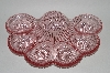 "**MBA #63-117  "" Pink Vintage Glass 1950's Deviled Egg Dish"
