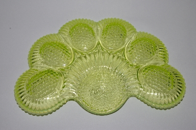 "**MBA #63-102  ""Vintage Yellow Vaseline Glass 1950's Deviled Egg Dish"
