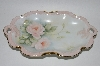 "**MBA #62-119  "" Vintage Hand Painted Pink Rose Dish"