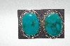 "** MBA #65-007  "" Apache Sterling Large Blue Turquoise Earrings"