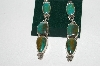 **MBA #65-016  Artist Signed Green Turquoise 3 Part Earrings