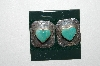 "**MBA #65-249  Square Shaped Sterling "" Heart"" Turquoise Earrings"
