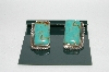 "**MBA #65-024   Sterling ""Navajo""  Square Blue Turquoise Pierced Earrings"