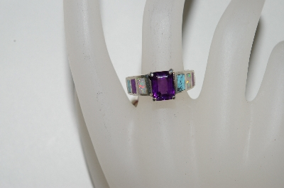 **MBA #65-233  Sterling Square Cut Amethyst In Lay Ring