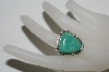 **MBA #65-201  Artist Stamped Fancy Cut Green Turquoise Ring