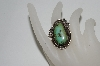 **MBA #65-134   Sterling Fancy Cut Green Turquoise Ring