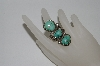 "**MBA #65-130   "" Artist Signed 3 Stone Blue/Green Turquoise Ring"