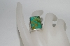 **MBA 365-140   Sterling Square Green Turquoise Ring