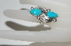 **MBA #64-220  Artist Signed 2 Stone & 2 Leaf Blue Turquoise Ring