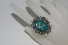 "**MBA #65-123   Sterling ""Navajo"" Flower Shaped Green Turquoise Ring"