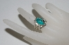 "**MBA #65-212   Sterling ""Navajo"" Oval Cut Blue Turquoise Ring"