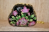 Black Enameled Flower Purse #4983