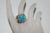 **MBA #65-224  Artist Signed Wide Band Blue Turquoise Ring