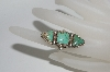 **MBA #65-091   Sterling Green Turquoise 3 Stone Ring