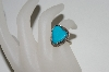 **MBA #65-095  Sterling Fancy Shaped Blue Turquoise Ring