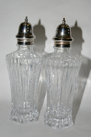 "**MBA #65-068   ""Pair Of ""Symmetry"" Clear Glass Salt & Pepper Shakers With Sterling Tops"