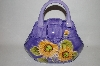"** Purple ""Sunflower"" Ceramic Handbag Cookie Jar"