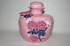 "**MBA #69-015   "" Fancy Pink 3 Dimensional Floral Round Cookie Jar"