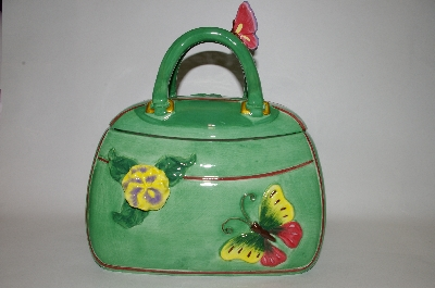 "+MBA #69-056   "" Green 3 D Flower & Butterfly Handbag Cookie Jar"