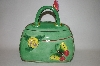 "**MBA #69-056   "" Green 3 D Flower & Butterfly Handbag Cookie Jar"