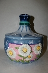 **Blue 3D Floral Round Ceramic Cookie Jar