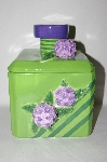 "**MBA #69-062   "" Large Green 3D Purple Flower Square Ceramic Cookie Jar"