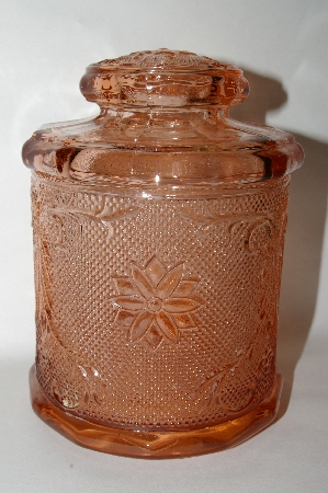 "MBA #69-220  "" Medium Sized Fancy Patterned Pink Glass Canister"