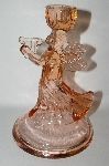"**MBA #69-241   "" Vintage large Pink Glass Angel Candle Stick Holder"