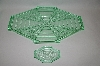 **Vintage Green Glass 6 Piece Vanity Set