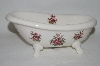 **MBA #69-120   Athena White Ceramic Rose Bathtub Vanity Dish