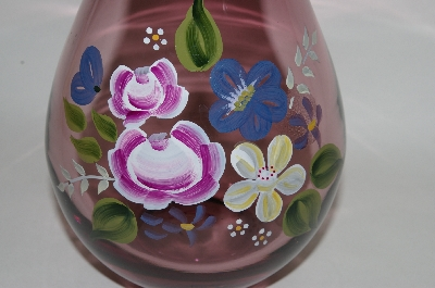 "**MBA #69-030   ""Hand Painted Purple Art Glass Vase"