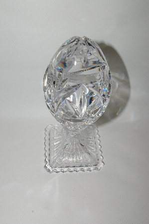 +MBA #69-025  1990's Large Beautiful Clear Crystal Fancy Cut Egg On Stand