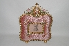 "MBA #66-096  ""Pink Velvet ""Square"" Victorian Look Jeweled Picture Frame"