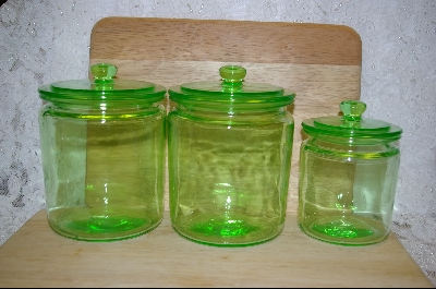 **Set Of 3 Green Glass Canisters #5103