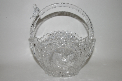 "**MBA #69-229   ""Crystal Basket With Bird Motif Candy  Dish"