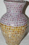1 Of A Kind Large Hand Made Pink & Butterscotch Stained Glass Mosiac Vase