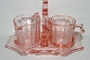 **Vintage Pink Depression Glass Floral Etched Cream & Sugar Set With Matching Stand