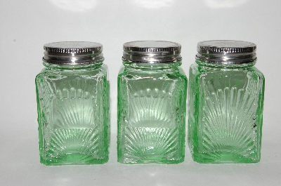 "**MBA #69-202   ""Set Of 3 Vintage Reproduction Green Glass Spice Jars"