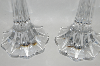 "**MBA #70-7962   ""Set Of 2 Large Clear Crystal Fancy Candle Stick Holders"
