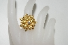 **MBA #76-137  14K Yellow Gold Citrine & Diamond Flower Ring